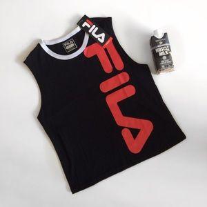 NWT Fila Logo Black & Red Muscle Tank